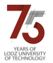 Logo 75 years of Lodz University of Technology